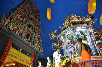 City procession on Punar Pusam 2015 outside Sri Mariamman Temple